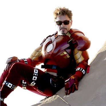 Robert Downey Jr en el set de filmación de Iron Man 2